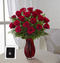In Love with Red Roses Bouquet with Heart Pendant