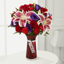 Happy Birthday flower bouquet,  red roses, Stargazer lilies, red mini carnations, purple double lisianthus, Albuquerque Florist