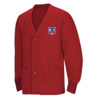 WLI Cardigan Sweater Red w/ Logo