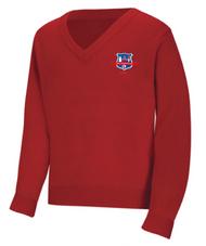 WLI V-Neck Sweater Red w/Logo