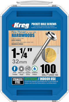 "Kreg Stainless Steel Pocket-Hole Screws 1-1/4"", #7 Fine, Washer-Head, 100 Count (SML-F125S5-100)"