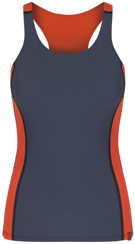 Racerback tankini top in dark grey with orange lining and tummy control front view - ultra flattering swimwear