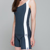Butterfly swim shorts in dark grey with tummy control and body control tankini top - ultra flattering swimwear