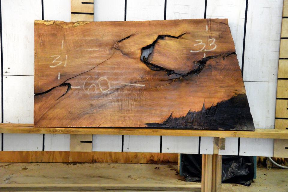 Texas Mesquite Live Edge Wood Slab - TM420 - 60x32x2.25 - side 1