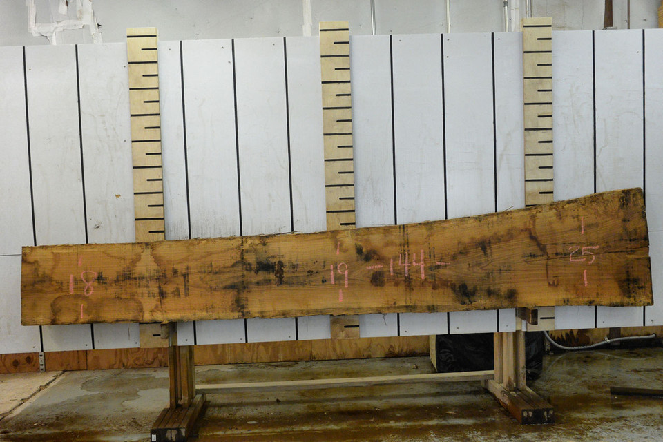 French White Oak Live Edge Wood Slab - FWO001- 144x21x1.125 - Side 1