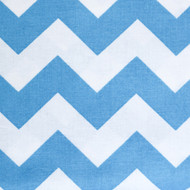 This is a blue and white chevron print on a medium weight 100% cotton.