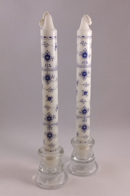 """Classic Blue Fluted pattern candles  2.3cm/24cm (1""""/9.5"""")"""