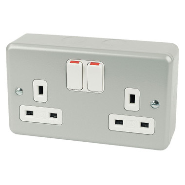 electrical socket 13A 2-Gang DP Switched Plug Socket Metal-Clad