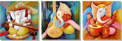 Ganesha with Music Instruments  - 72in x 24in (24in x 24in x 3pcs.),VKS_MHL_2_7224,Acrylic Colors, Museum Quality,Ganesha,Ganapati,Bappa - 100% Handpainted Buy Painting Online in India.