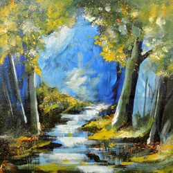 River Through Forest - Handpainted Art Painting - 18in X 18in
