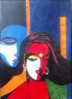 Man and Women - Handpainted Art Painting - 24in X 36in