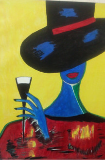 Lady with Wine Glass - Handpainted Art Painting - 24in X 36in