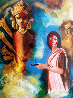 Festivals of India,Durga Pooja,Navratri,Women Parying Godess Durga