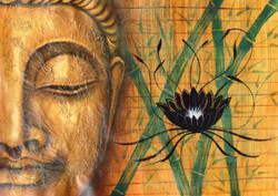 Buddha with black flower,Meditation,Peace,Texture Buddha