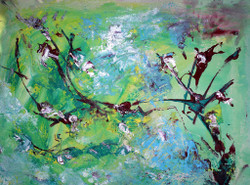 Escape, Abstract Srokes, dots, Shapes, Design, Green Painting