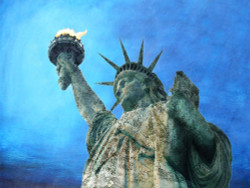 figurative painting, texture painting, blue shade painting, statue of Liberty painting
