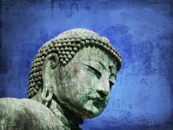 figurative painting,religious painting, buddha painting,  blue buddha painting, texture painting