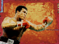 figurative painting,texture painting,yellow, orange shade painting, boxing painting, competition, sports painting