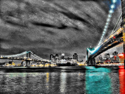 landscape painting, black, blue shade painting, the bridge, texture painting, bridge at night, city at night