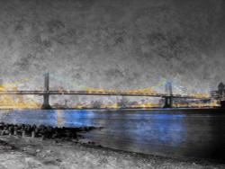 landscape painting, black, dark shade painting, the bridge, texture painting, bridge at night, city at night