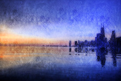 landscape painting, blue, dark shade painting, seaside city, texture painting, sunset, city at night