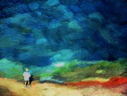colors, blue shade, figurative, texture, man