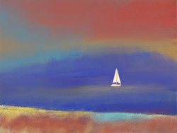 landscape, seascape, blue painting, boat, colorful texture painting