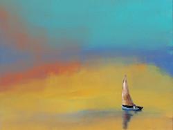 landscape, seascape, blue painting, boat, colorful texture painting, sailor's boat