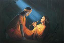 Radha Krishna_Third - Handpainted Art Painting - 36in X 24in