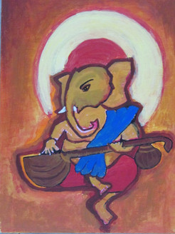 Ganesha painting,Religious painting, brown shades painting.