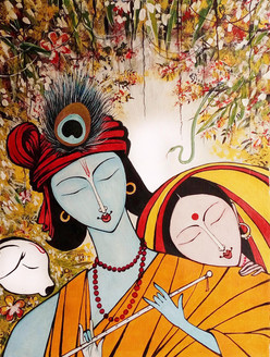Radha Krishna - Handpainted Art Painting - 14in X 19in