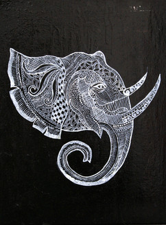 Elephant painting, black darkshade painting, Equestrian Art and Wildlife Paintings, New Age Art Paintings