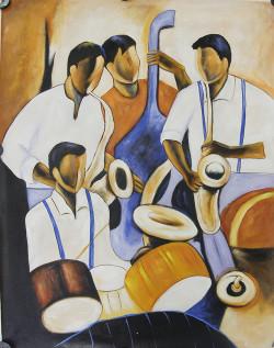 MusicTroop - 30in X 40in,FIZ013MSC_3040,Yellow, Brown,75X100,Modern Art Art Canvas Painting