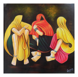 figurative painting, feminine, multi couloured, group of ladies, gossip, village life painting,GOSSIP 2,ART_1033_11028,Artist : PARESH MORE,Acrylic