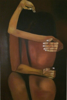 abstract, figurative abstract, emotions, nude erotic, romance, yellow, brown shades,Emotions,ART_1289_10052,Artist : Vijay  Sareen,Oil
