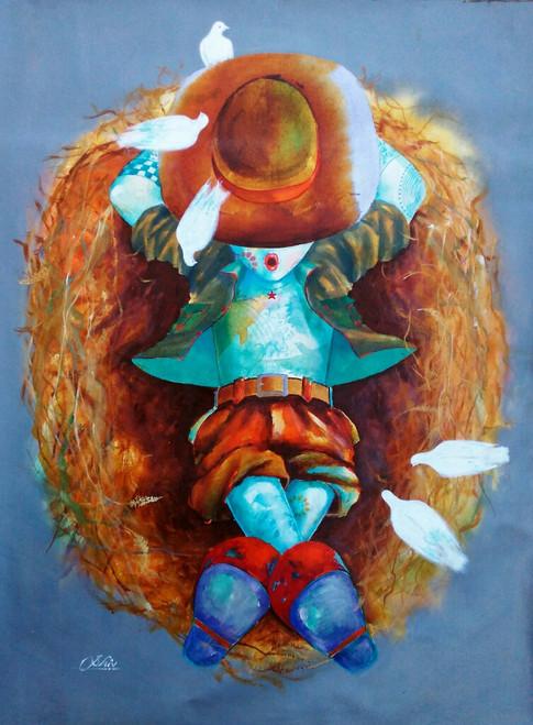 Birds, birds on hat, Boy with a hat, nest & birds etc,puppy testing in the nest,ART_805_5757,Artist : Shiv kumar Soni,acrylic on canvas