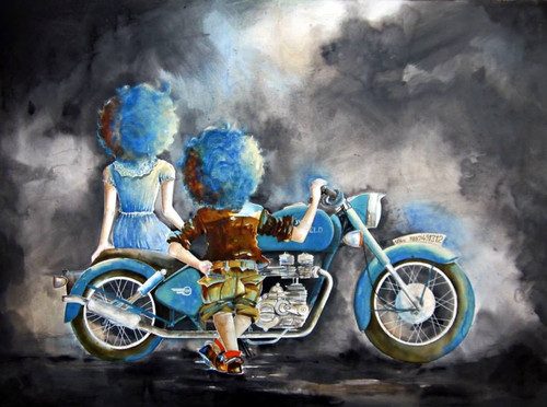 boy girl in dream world, boy girl with pigeons, clouds,puppy and chicky with bike,ART_805_3687,Artist : Shiv kumar Soni,mix media on paper