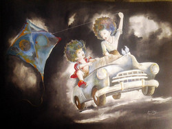 Boy & girl, girl in white, kite, Car etc,puppy and chicky on the drive,ART_805_3686,Artist : Shiv kumar Soni,mix media on paper