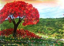 Tree of love' (ART_782_3487) - Handpainted Art Painting - 11in X 15in