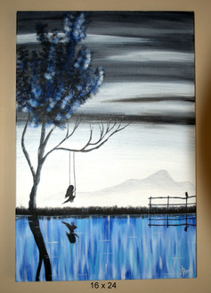 girl, swing, nature, future, thought, landscape, reflection,Swing with Me,ART_359_8200,Artist : Latesh Nair,Acrylic