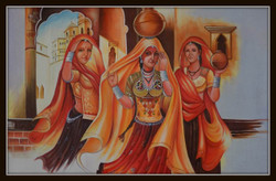 figurative painting, feminine painting, group of ladies, village painting, women with earthen pot, gossip 4 ,GOSSIP 4,ART_1033_11031,Artist : PARESH MORE,Acrylic