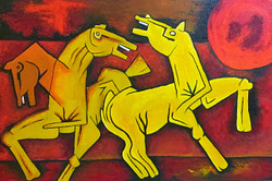 horses,famous painters,m f hussain , red,living room painting,lobbyroom painting, painting for home,horses m f hussain replica,ART_1288_11348,Artist : Manini Soni,Acrylic