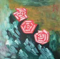 Flowers, Roses, Abstract, Garden, ,Red Roses (12'' x 12'' inch),ART_827_5380,Artist : Kalpana Dave,Oil On Canvas