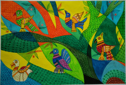 tribal art, multi colour painting, folk art,Tribal art-Birds,ART_1243_11538,Artist : Ujwala Chavan,Acrylic