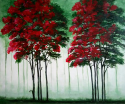 landscape, original art, painting, canvas, ,RED AND GREEN TREES - Original Canvas Painting with Acrylic Colours,ART_1180_11590,Artist : Vrushali A Kamthe,Acrylic