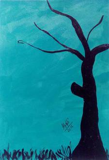 tree, evening, greenery, sunset, nature, forest, artwork, painting, acrylic on paper, ankita popli,Secretive Evening,ART_1412_11767,Artist : Ankita Popli,Acrylic