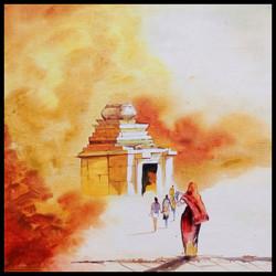 Temple, Hampi,Way to Divine,ART_208_7758,Artist : Surya Vamshi,Acrylic