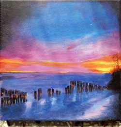 Sea, Waves, Shore, Sun set, Sun rise,Waves,ART_208_6699,Artist : Surya Vamshi,Acrylic