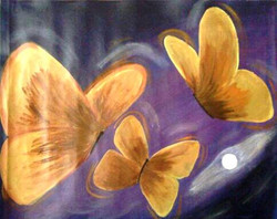 Orange Butterflies- 25in x 20in,ART_PJ14_2520,Multi-Color,Rs.2690,Modern Art;Latest Collection;By Orientation and Size/Horizontal/Medium (25in to 32in);Full Collection