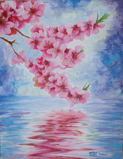 cherry blossom, Pink, blue, floral, water,Beautiful cherry blossoms,ART_1292_11966,Artist : Shilpa Mathur,Acrylic